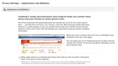 Facebook Instant Personalization privacy settings