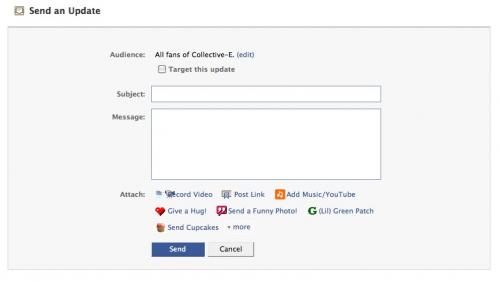 Facebook Update page