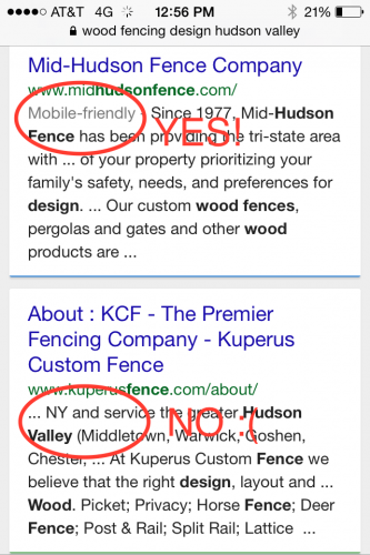 Mobile-friendly tag in Google search results indicates if Google sees it as readable on phones.