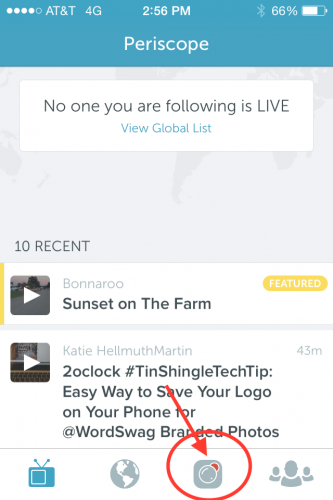 Periscope's broadcast button is very small, has a red dot, and is in the bottom of the app.
