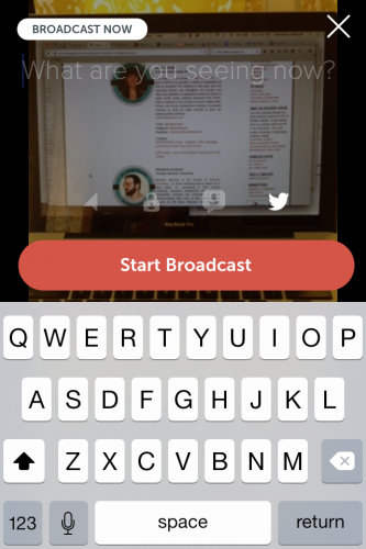 Before you hit the red Start Broadcast button, fill in your Periscope video title and use hashtags