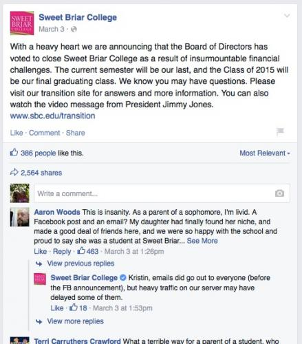 Communications People at Sweet Briar Announce That College Will Be Closing - Forever - Via Facebook