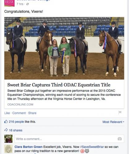 Sweet Briar Tries to Move Forward on Facebook