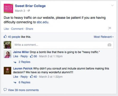 Heavy traffic crashes the website at Sweet Briar, making it impossible for parents and students to get information.