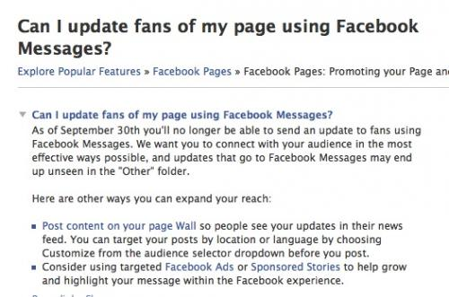 Can't send an update to Facebook Page fans