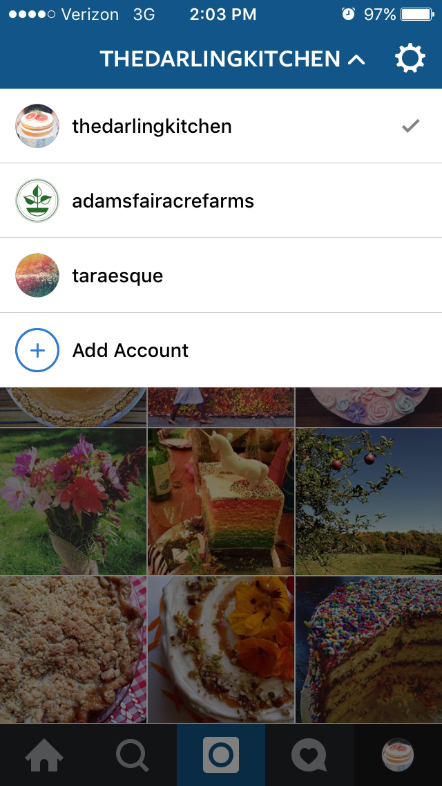 Internet marketer Tara Tornello's Instagram view of multiple accounts. She runs her own personal Instagram account, as well as that of her bakery business, The Darling Kitchen, and that of her full time employer, Adams Fairacre Farms.