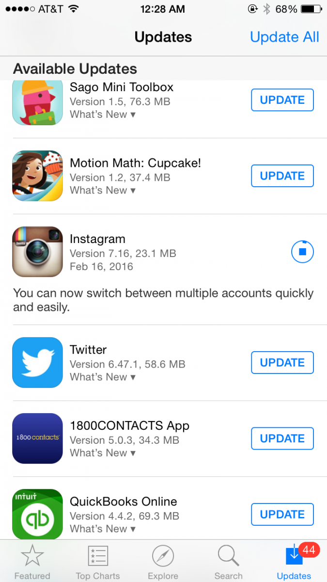 Updating your Instagram account for the multi-account feature is easy. Just go to your App Store and suck it down.