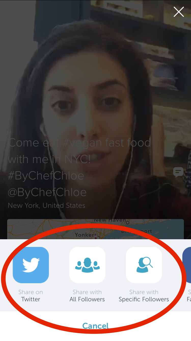 Sharing a Periscope Broadcast Live to Followers