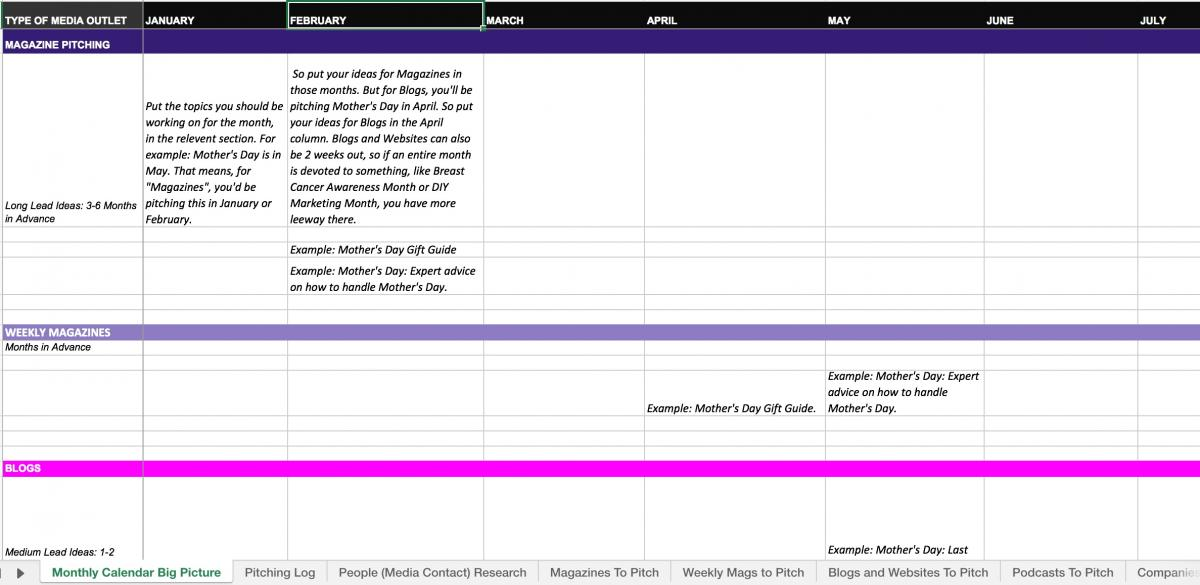 Preview of Tin Shingle's PR Planner and Tracker for Media Outreach