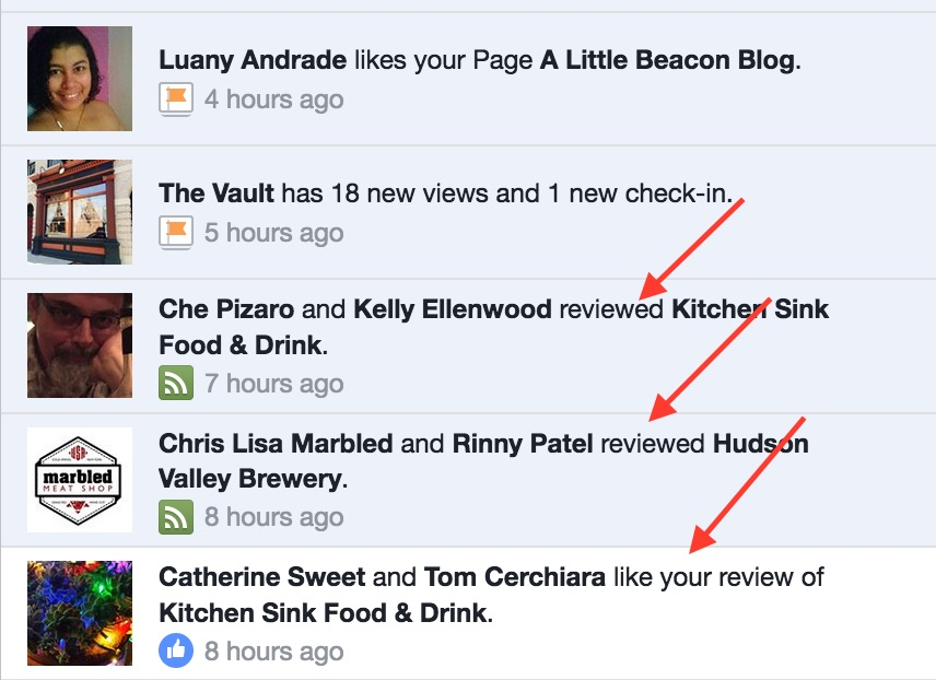 Facebook is making Reviews show up in Recent Activity
