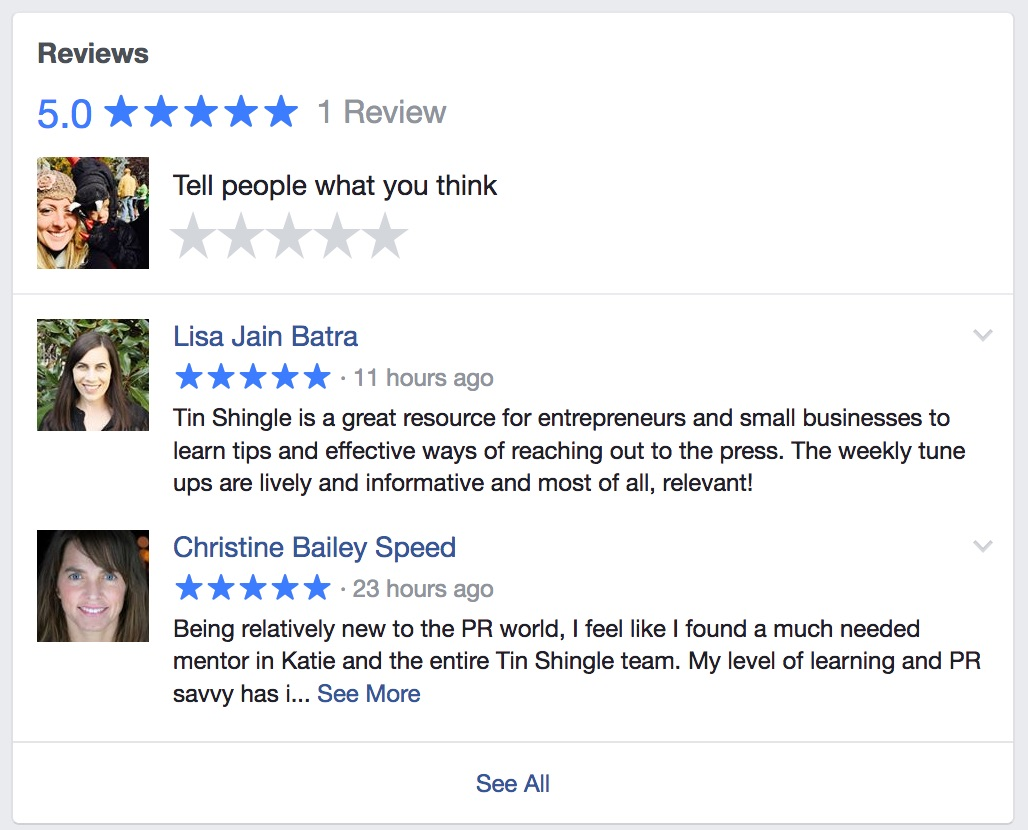 How Reviews look in your Facebook Business Page