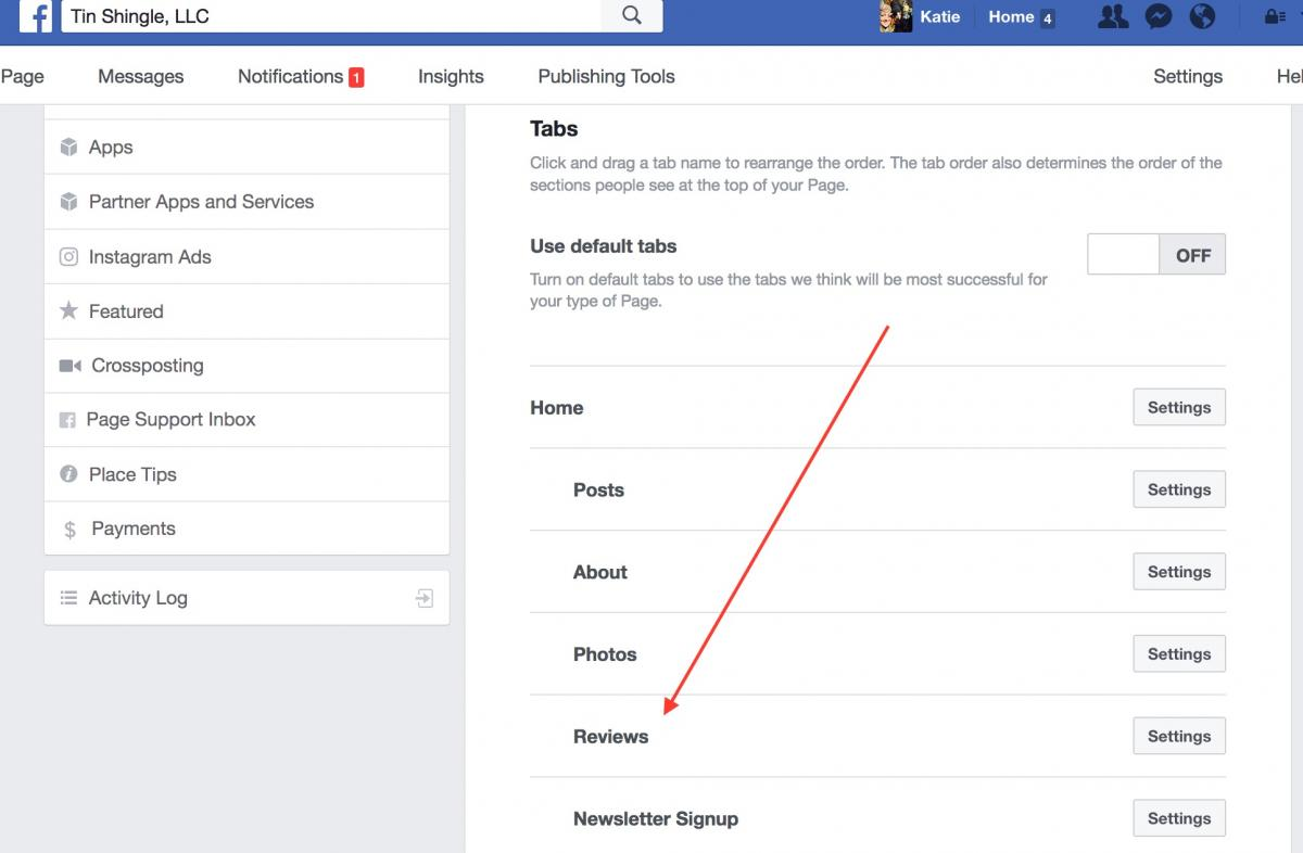 Moving Review Tab in the Middle of Facebook Business Page