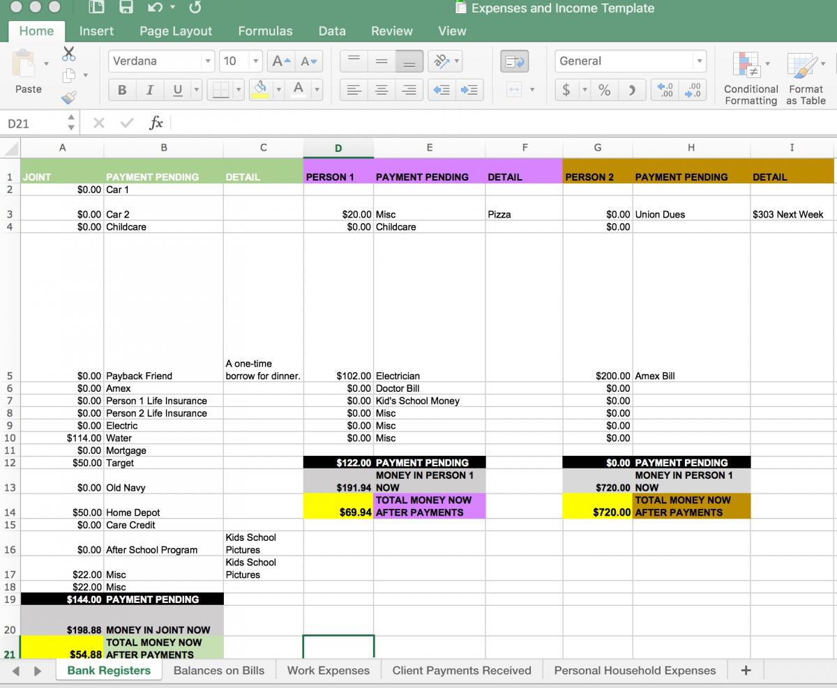 The Bank Register Worksheet in the Finances Template Spreadsheet