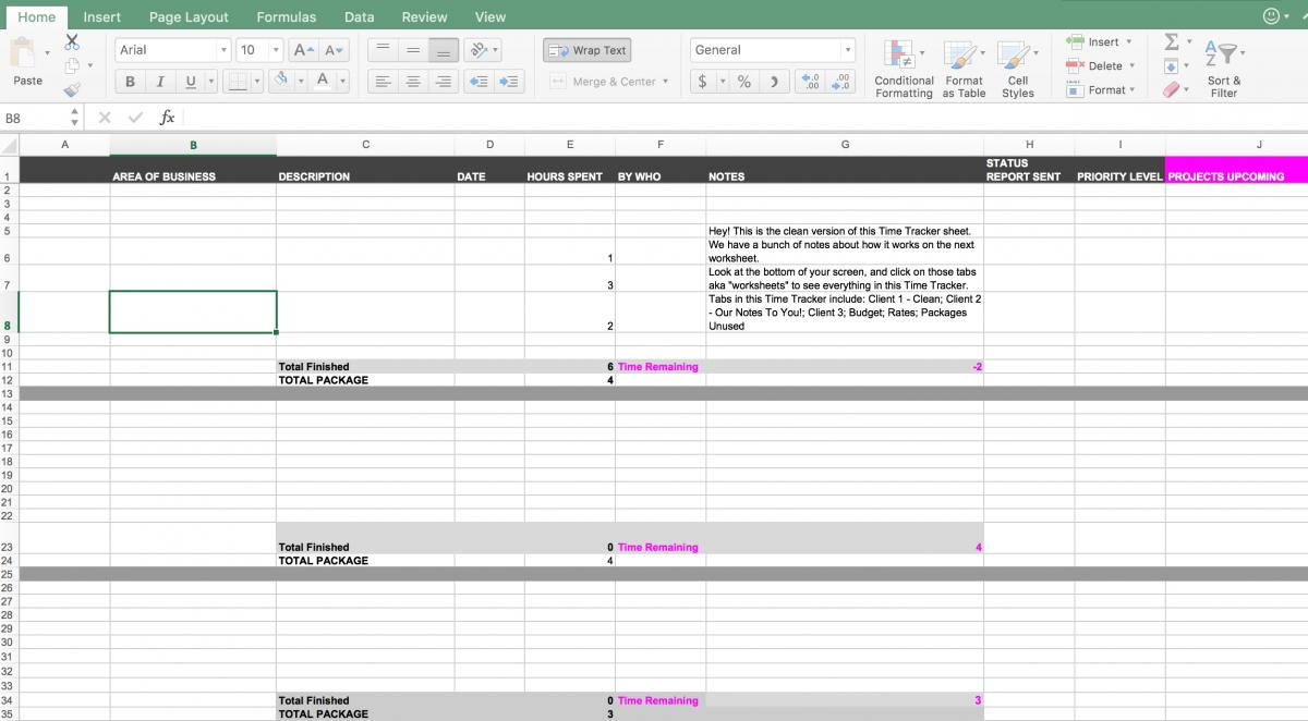 Client Project Time Tracker for Retainers and Packages