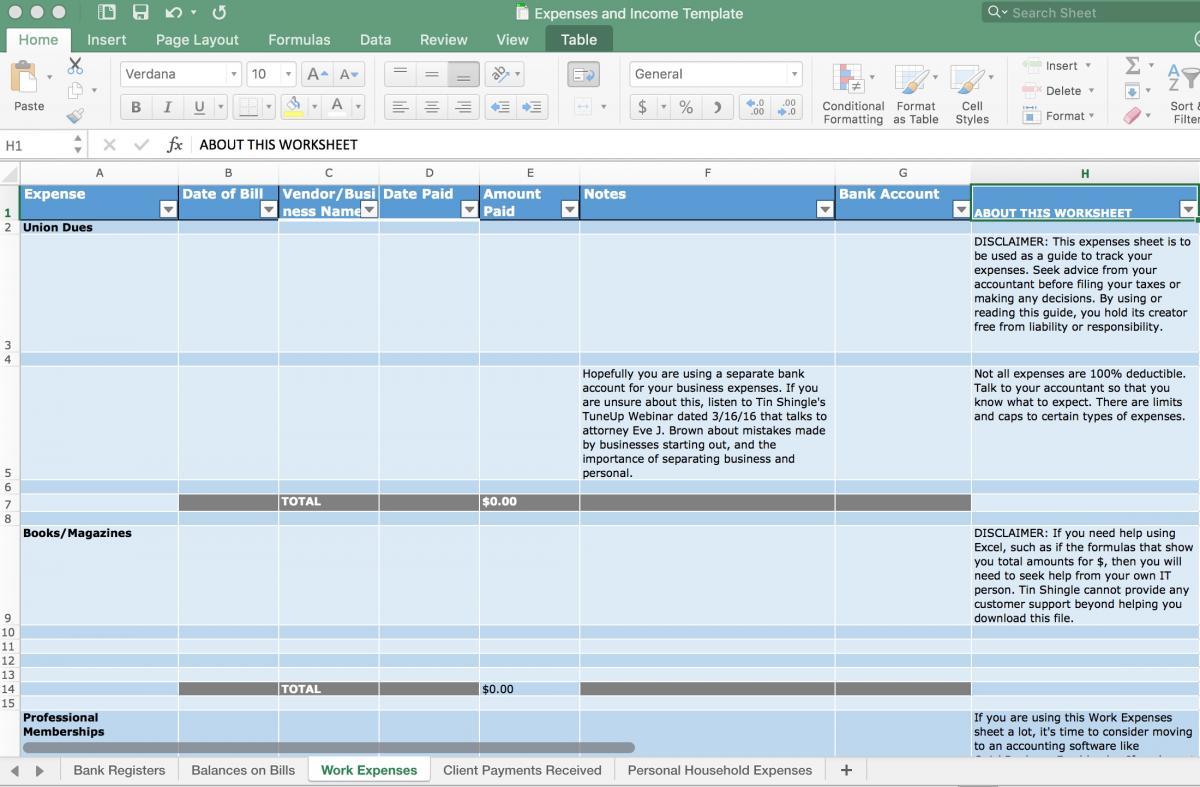 Screenshot of Work Expenses for Finances Spreadsheet Template
