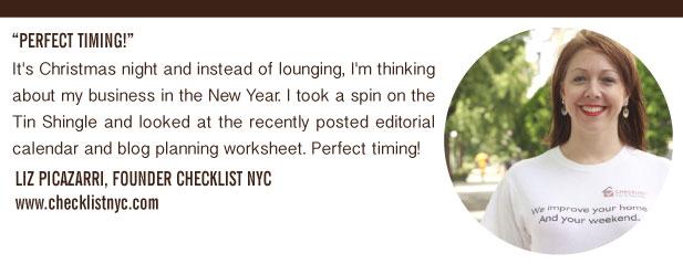 Liz Picazarri's Testimonial for Tin Shingle's Blog Planning and Production Calendar