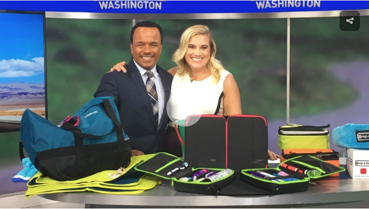Sabina Hitchen as On Air Expert sharing travel tips and road trip must haves from small business and entrepreneurs with Larry Smith on Good Morning Washington