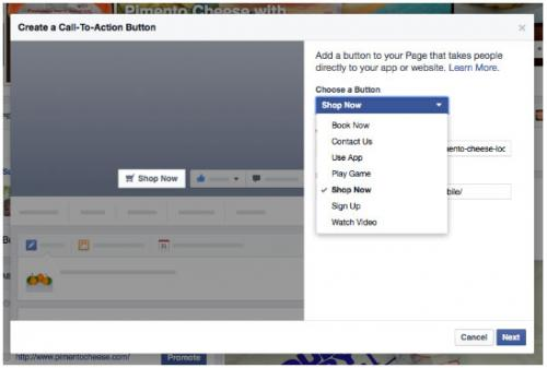 Creating a call to action button on Facebook
