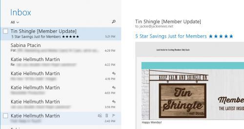 Tin Shingle Email Screen Shot