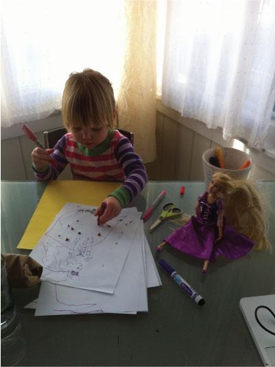 Ruby drawing Barbie fashion drawing