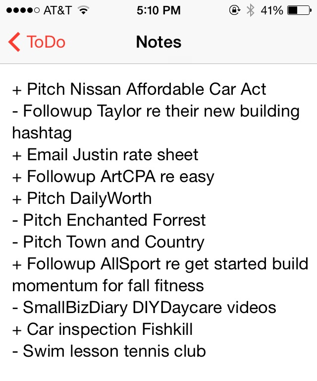 ToDo List from Katie's DIYDaycare Work Schedule